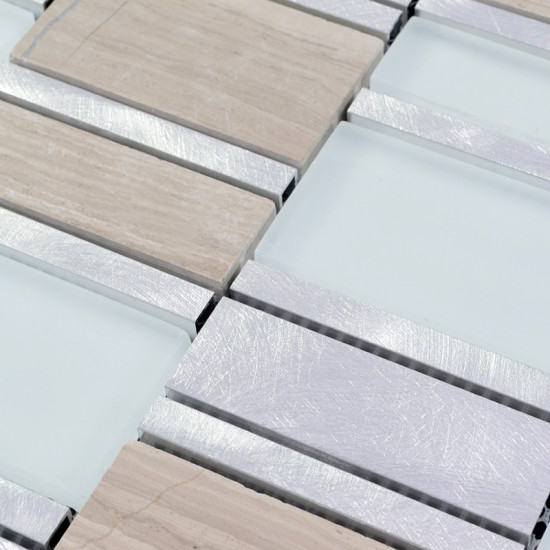 Silver Brushed Aluminum Tile White Frosted Glass Mosaic and Textured Stone Tiles Bath Wall Decor
