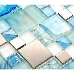 Silver Stainless Steel Tile Blue Glass Backsplash Beach Themed Bathroom Tiles Metallic Mosaic