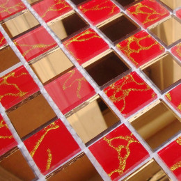 Gold Mirror Glass Backsplash Tile Red Crystal Mosaic Bathroom Shower Wall Tiles