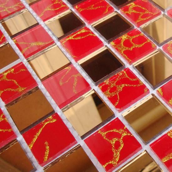 Gold Mirror Glass Backsplash Tile Red Crystal Mosaic Bathroom Shower Wall Tiles