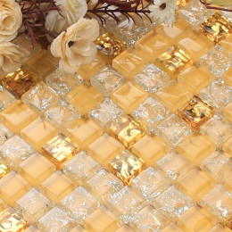 Gold Glass Mosaic Backsplash Tiles Crackled Crystal Wall Tile for Kitchen and Bathroom Shower
