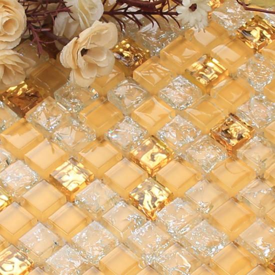 Gold Glass Mosaic Backsplash Tiles Crackled Crystal Wall Tile for Kitchen and Bathroom Shower