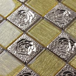Silver Stainless Steel Tile Big Glass Mosaic Brick Gold Crystal Backsplash Tiles Metallic 3d Flower Patterns