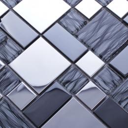 Silver Stainless Steel Tile Blue Crystal Glass Backsplash Tile Shiny Metallic Mosaic Bathroom Tiles