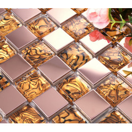 Rose Gold Stainless Steel Tile Golden Glass Striped Mosaic Backsplash Kitchen and Bathroom Tiles