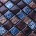 Brown and Blue Glass Mosaic Tile Kitchen Backsplash Clear Glossy Crystal Bathroom Wall Tiles