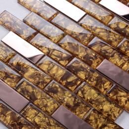 "Rose Gold Stainless Steel Tile Golden Crystal Glass Backsplash 1"" x 2"" Subway Bathroom Wall Tiles"
