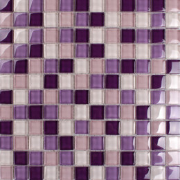 Glass Mosaic Tile with Purple Pink and White Crystal Backsplash for Kitchen and Bathroom and Accent Wall