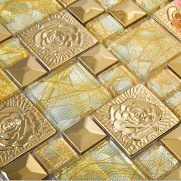 Gold Glass Mosaic and Stainless Steel Tile 3D Flower Patterns Shiny Metal Backsplash Tiles
