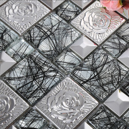 Silver Glass Mosaic and Stainless Steel Tile 3D Flower Patterns Shiny Metal Backsplash Tiles