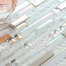Iridescent White Glass Tile Silver Stainless Steel Backsplash Crystal Rhinestone Mosaic Metal Tiles