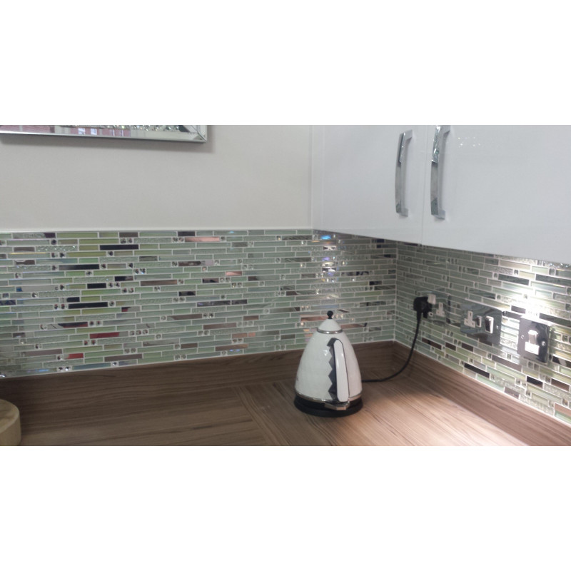 Iridescent White Glass Tile Silver Stainless Steel Fifyhcom