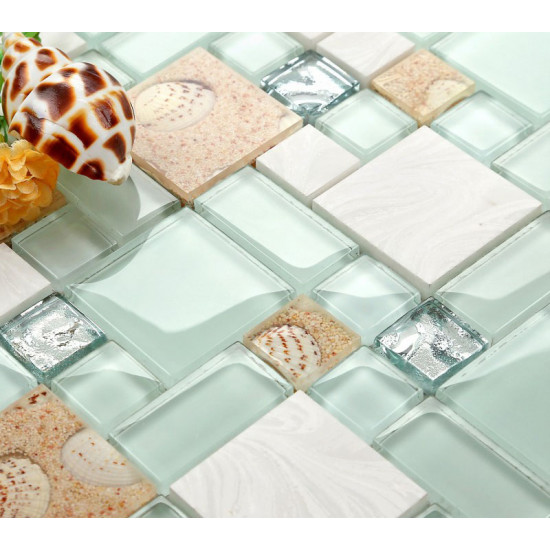 Sea Green Glass and White Stone Tile Resin Conch Beach Inspired Kitchen Backsplash Coastal Bathrooms