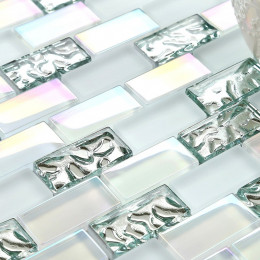 "Glass Subway Tile 1"" x 2"" Silver and Iridescent White Crystal Wall Tiles for Kitchen Backsplashes or Bathrooms"