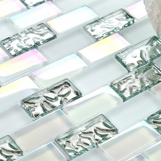 """Glass Subway Tile 1"""" x 2"""" Silver and Iridescent White Crystal Wall Tiles for Kitchen Backsplashes or Bathrooms"""