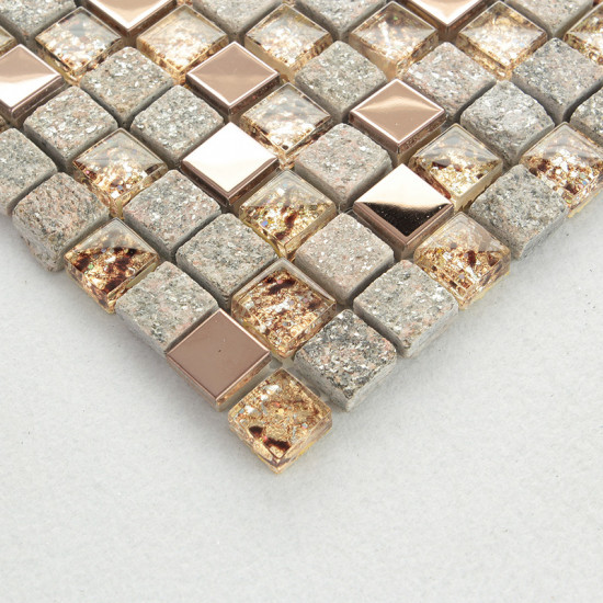 Gray Stone and Glass Mosaic Rose Gold Stainless Steel Tiles Bathroom Backsplash Clear Crystal Kitchen Tile