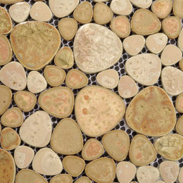 Khaki Porcelain Pebble Tile Backsplash Heart-shaped Glazed Ceramic Mosaic Bathroom Wall Tiles