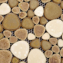Cream and Brown Porcelain Pebble Tile Heart-shaped Glazed Ceramic Mosaic Wall Tiles