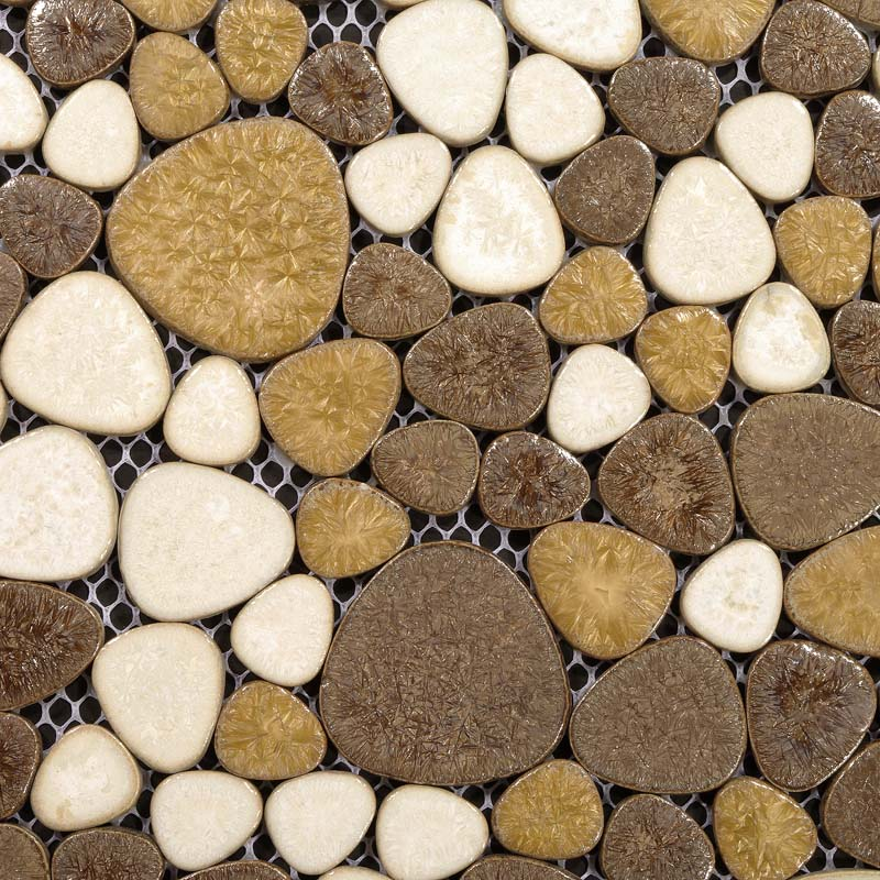 Milk White And Brown Porcelain Pebble Tile Heart Shaped Ceramic Mosaic Fireplace Wall Backsplash Tiles