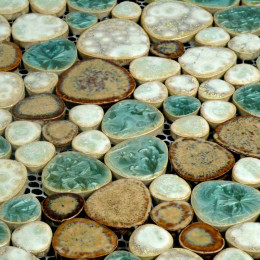Blue / Cream / Coffee Porcelain Pebble Tile Heart-shaped Ceramic Mosaic Backsplash Glazed Tile Pebbles