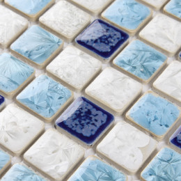 Blue and White Porcelain Tile Mosaic Glazed Ceramic Bathroom Wall Tiles Kitchen Backsplash