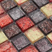 Red Brown and Gold Glass Mosaic Tile Kitchen Backsplash Clear Crystal Bathroom Wall Tiles