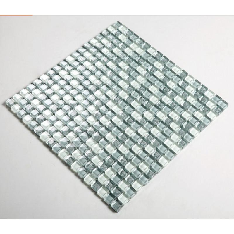 Gray Blue Glass Mosaic Wall Tile Glossy, Blue Glass Tile Bathroom