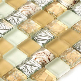 Yellow / White / Silver Frosted Glass Mosaic Crackle Crystal Backsplash Tile Resin Shell Bathroom Tiles