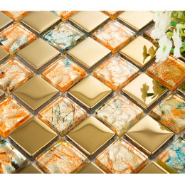 Gold Coated Glass Mosaic Glitter Wall Tiles Clear Crystal Backsplash Glam Bathroom and Kitchen Tile