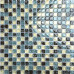 Blue and Brown Glass Backsplash Tile with Yellow Crackled Crystal Bathroom Wall and Floor Tiles