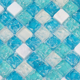 Sky Blue Glass Mosaic Inner Cracked Crystal Backsplash White Stone Bathtub Wall Tiles Inspired Bathrooms