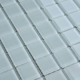 White Glass Mosaic Glossy Tile Modern Backsplash Square Tiles for Bathroom Swimming Pool