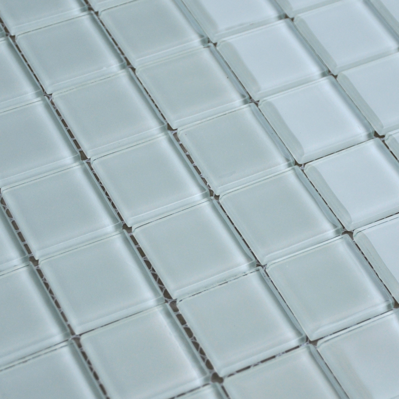 Cool White Glass Mosaic Glossy Tile Modern Backsplash Square Tiles For Bathroom Swimming Pool Home Interior And Landscaping Pimpapssignezvosmurscom