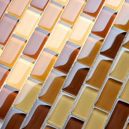 "Glass Subway Tile Yellow Orange Crystal Backsplash Kitchen 1"" x 2"" Brown Bathroom Wall Tiles"