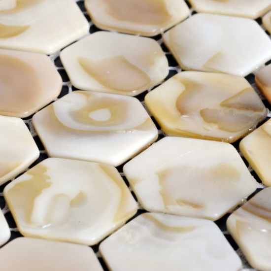 "Natural Mother of Pearl Tile Backsplash Hexagon Shell Mosaic Kitchen and Bathroom Wall Tiles (Tile Size: 4/5"" x 4/5"" x 1/12"")"