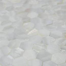 "White Mother of Pearl Tile Backsplash Hexagon Shell Mosaic Seamless Bathroom Wall Tiles (Tile Size: 4/5"" x 4/5"" x 1/12"")"