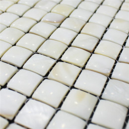 "White Mother of Pearl Tile Backsplash 3D Arched Shell Mosaic Bathroom Wall Tiles (Tile Size: 3/5"" x 3/5"" x 1/8"")"