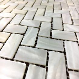"White Mother of Pearl Tile Backsplash Herringbone Shell Mosaic Bathroom Wall Tiles (Tile Size: 3/5"" x 1-1/6"" x 1/12"")"