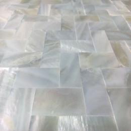 "White Mother of Pearl Tile Backsplash Herringbone Seamless Shell Mosaic Bathroom Tiles (Tile Size: 3/5"" x 1-1/6"" x 1/12"")"