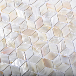 "Natural Mother of Pearl Tile Backsplash 3D Cube Shell Mosaic Kitchen and Bathroom Wall Tiles (Tile Size: 1"" x 1-5/8"" x 1/12"")"
