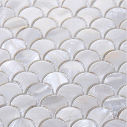 "Ultra White Mother of Pearl Tile Backsplash Fish Scale Shell Mosaic Kitchen and Bathroom Wall Tiles (Tile Size: 1"" x 1"" x 1/12"")"