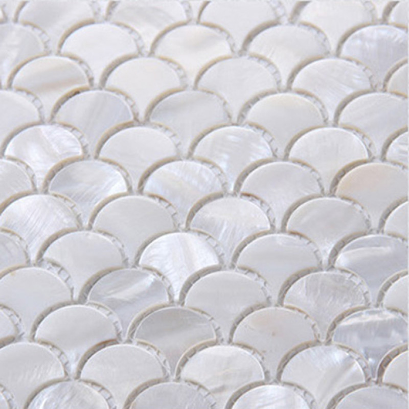 Ultra White Mother Of Pearl Tile Backsplash Fish Scale Fifyh Com