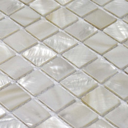 "Ultra White Mother of Pearl Tile Square Shell Mosaic Backsplash Kitchen Bathroom Wall Tiles (Tile Size: 1"" x 1"" x 1/12"")"