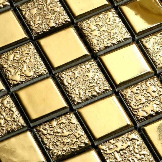 Luxury Gold Ceramic Mosaic Backsplash Slip-Resistant Coated Porcelain Tile Glitter Bathroom Tiles