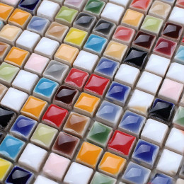 Glazed Porcelain Mosaic Tile Multi-Color Kitchen Backsplash Wall Tiles Ceramic Small Tile Squares