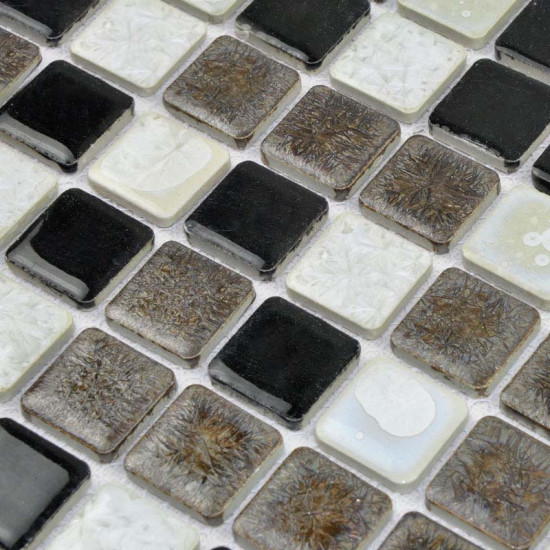 Black / Brown / White Porcelain Mosaic Glazed Ceramic Tile Bathroom Backsplash Wall Tiles