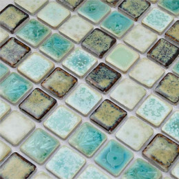 Blue and Brown Porcelain Mosaic Glazed Ceramic Tile Backsplash Bathroom Shower Wall Tiles