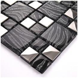 Silver Coated Crystal Backsplash Wall Tiles Black Glass Mosaic Tile Random Patterns for Kitchen and Bathroom