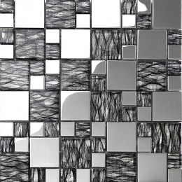 Silver Coated Crystal Backsplash Wall Tiles Black Glass Mosaic Tile Random Patterns for Kitchen and Bathroom