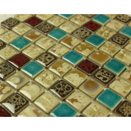 Off-White / Peacock Blue / Brown / Red Porcelain Tiles Glazed Ceramic Modern Tile for Bathrooms